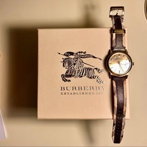 Burberry check strap watch